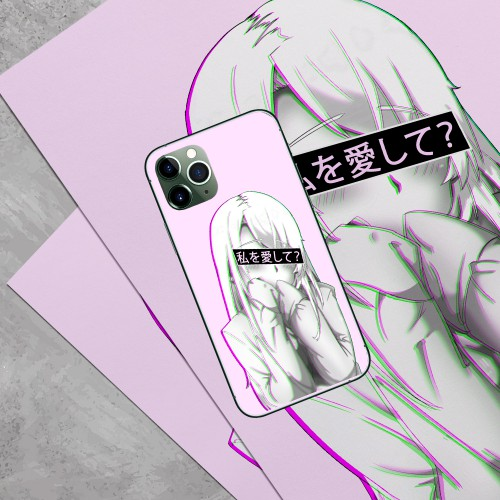 Vapor Wave Love Me Anime Aesthetic iPhone Case